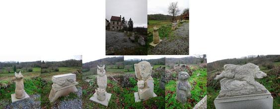 L'enfilade de sculptures sur la place