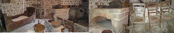 Au-delà du muret : lit, cheminée, 3 chaises