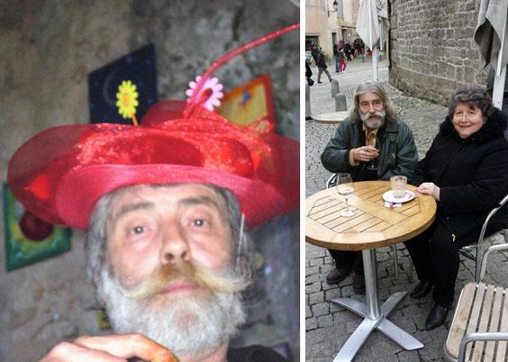 Denis Bonnes chapeauté au festival de 2011 ; visitant la citadelle avec Jeanine Rivais en 2014.