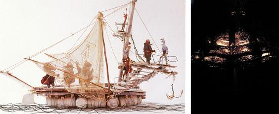 Maquette d'un bateau réalisée par Alain Bourbonnais. Et le bateau voguant sur l'étang dans la nuit du XXe anniversaire (Proportions hélas inversées)