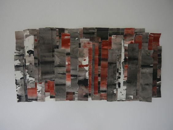 Schichtung, Acryl auf Papier, 67 x 126 cm