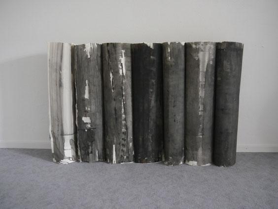 Schichtung, Acryl auf Papier, 98 x 160 x 25cm
