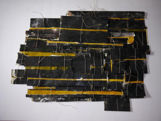 Schichtung, Acryl auf Papier, geschnürt, 86 x 116cm