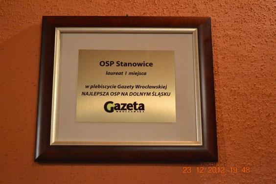"""Nagroda za zwycięstwo w plebiscycie """"NAJLEPSZA OSP NA DOLNYM ŚLĄSKU"""""""