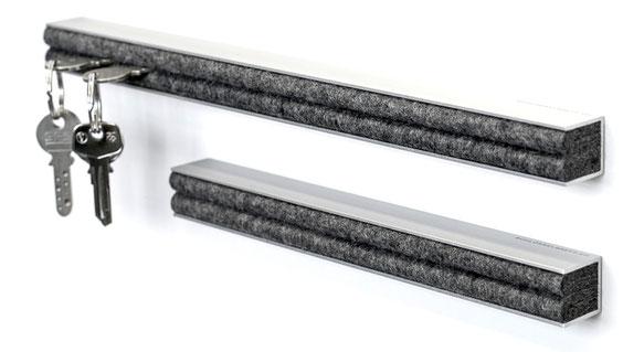 schlüssel aufbewahrung aluminium aluleiste anthrazit ausgezeichnet design schweiz swiss filz handmade schlüsselanhänger