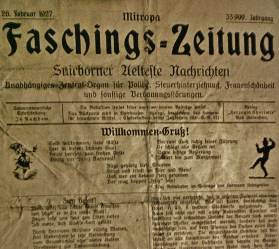 Faschings-Zeitung vom 26.Februar 1927 - Verlag Herzogliche Charlotte, vormals Müllers Hotel