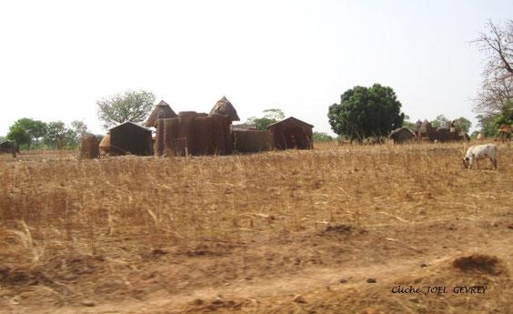 Un TATA SOMBA en pleine campagne au Nord Ouest du Bénin, fin Févier 2011.