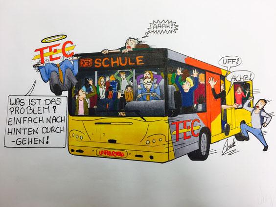 Nach Schulschuss platzen die Busse aus allen Nähten.  Karrikatur: Awa Kempen