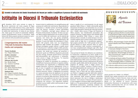 Nomina ad Assessore Laico (giudice laico) al Tribunale Ecclesiastico Diocesano