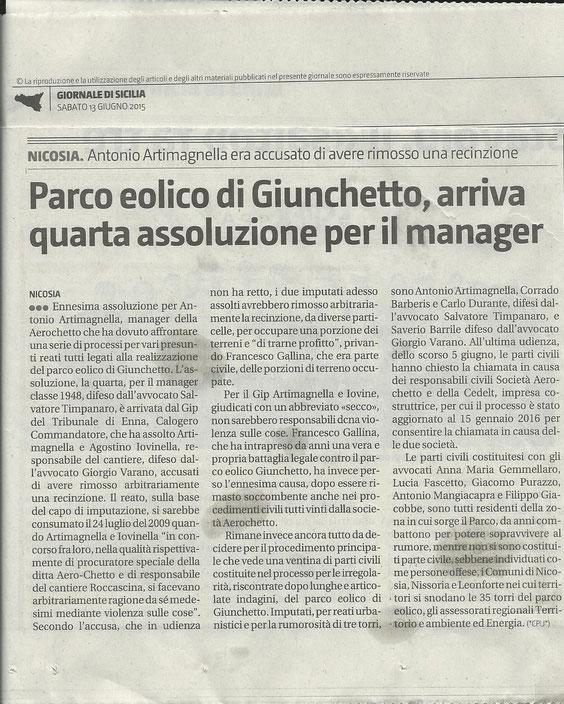 PARCO EOLICO GIUNCHETTO, ARRIVA QUARTA ASSOLUZIONE PER IL MANAGER