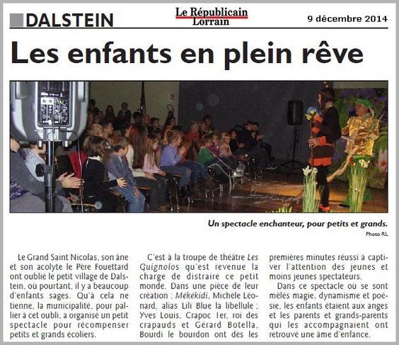 article de presse RL 9 décembre 2014 - spectacle jeunesse - compagnie théâtrale jeune public LES GUIGNOLOS - DALSTEIN - saison 2014/2015