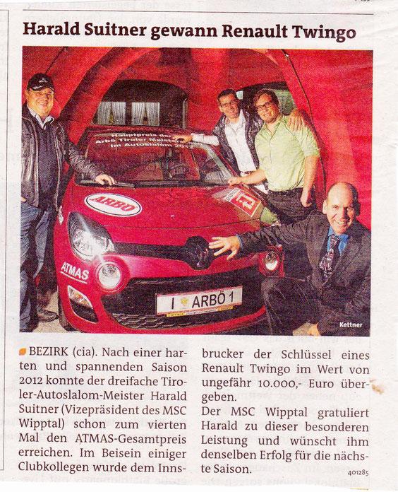 Bericht im Bezirksblatt Wipptal/Stubaital vom 28.11.2012
