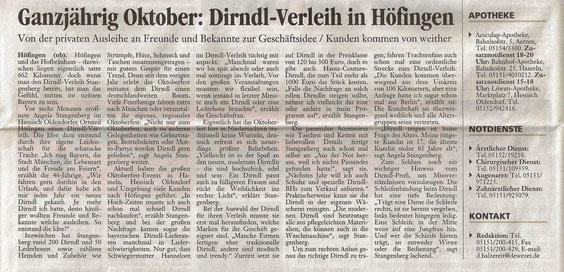 Angela Stangenberg Dirndl Verleih Hameln Höfingen Hessisch Oldendorf