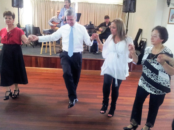 The Consul General of Greece in Adelaide  and the  President of the Messinians join the dance