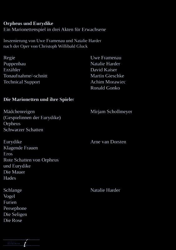 Orpheus und Eurydike, Uwe Framenau, Natalie Harder, Arne van Dorsten, Mirjam Schollmeyer, Ernst Busch, Berlin, Marionetten, Theater, Uraufführung, Puppentheater-Museum Berlin