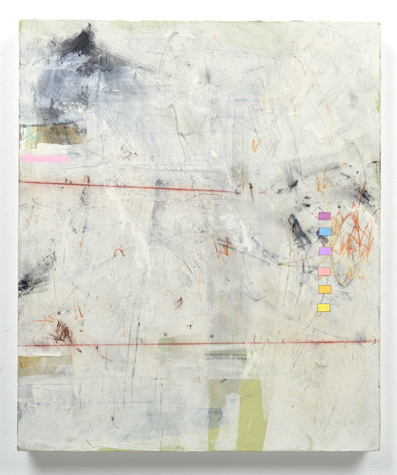 """Palimpsest, acrylic, drawing media & collage, 19""""x 16"""", 2018. N/A"""