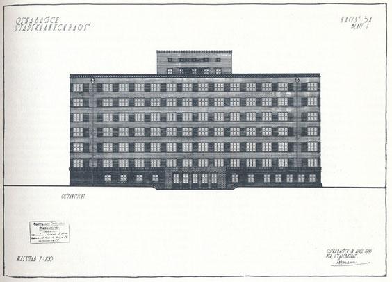 Stadtkrankenhaus Osnabrück, Haus 3A, Ostansicht, der Stadtbaurat-Lehmann, Juli 1931, Hochbauaumt (Städtische Denkmalpflege), aus Neues Bauen, S.57