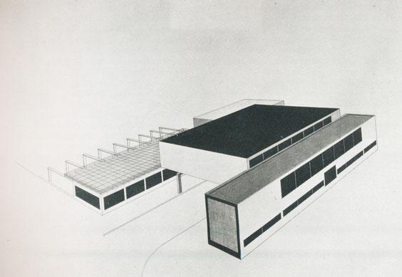 Kleine Festhalle für Osnabrück, Wettbewerbsentwurf, 1928, (B 47/10), aus Baugestaltung Museum Wiesbaden, S.51, © Museum Wiesbaden, Archiv Friedrich Vordemberge-Gildewart