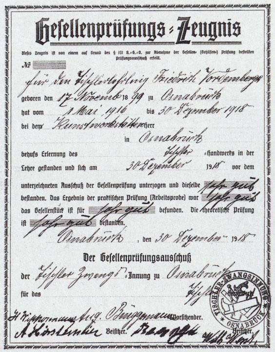 Gesellenprüfungszeugnis, 30.Dezember 1918, © Museum Wiesbaden, Archiv Friedrich Vordemberge-Gildewart