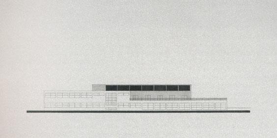Kleine Festhalle für Osnabrück, Wettbewerbsentwurf, 1928, (B 47/6), aus Baugestaltung Museum Wiesbaden, S.51, © Museum Wiesbaden, Archiv Friedrich Vordemberge-Gildewart