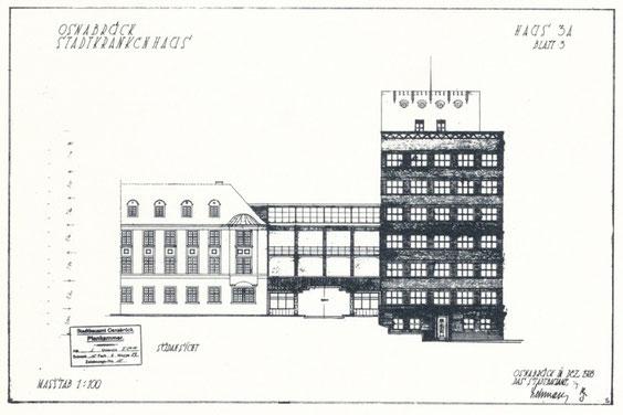 Stadtkrankenhaus Osnabrück, Haus 3A, Südansicht, der Stadtbaurat-Lehmann, Dezember 1928, Hochbauamt (Städtische Denkmalpflege), aus Neues Bauen S.56
