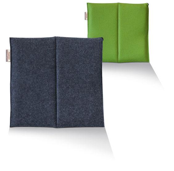 ein anthrazites und ein grünes Sitzkissen Bürostuhl Flowmo Pad