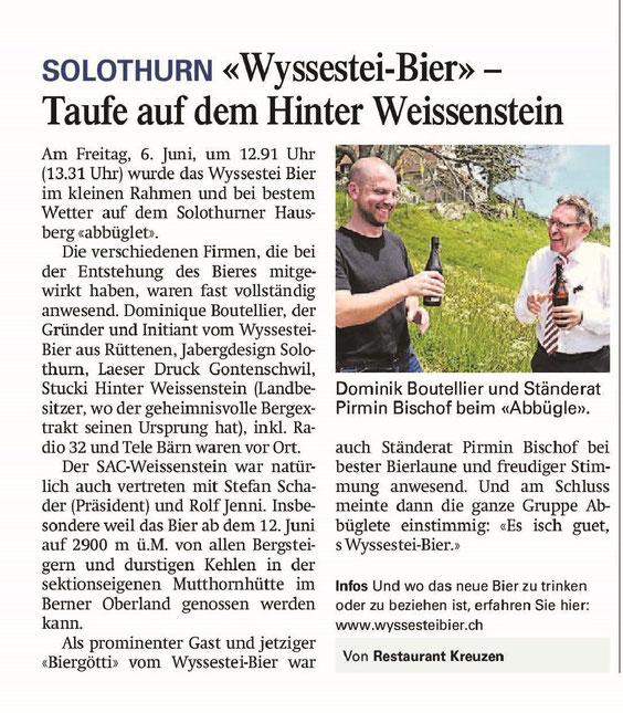 Wyssestei Bier Solothurn Presse Zeitung AZ Solothurner zeitung