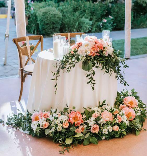 flores para mesa principal de novios