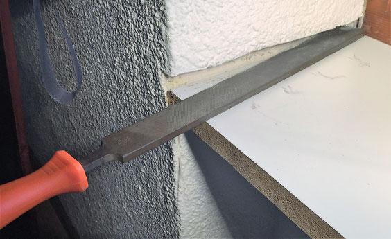 Holzfensterbank aufkleben Ansicht acht