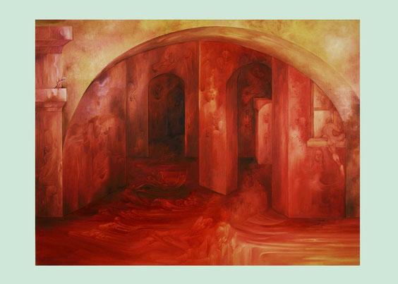 """""""LES FANTOMES DE L'OPERA"""" Huile sur Toile.116x 89 cm."""