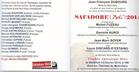 L'intérieur du carton d'invitation du 9ème salon européen Safadore(Dali) 2014 avec la liste des 14 artistes exposants.