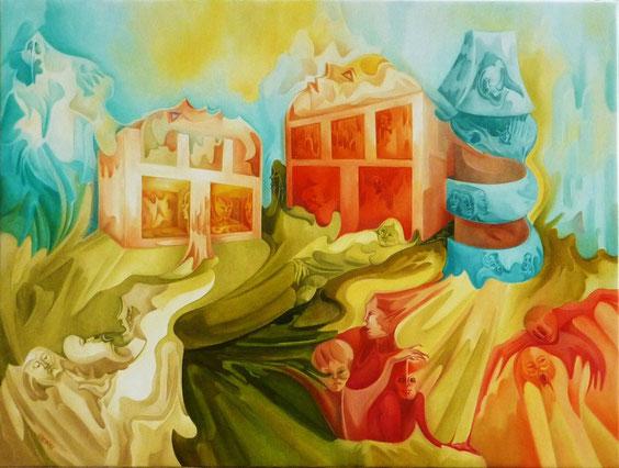 """""""Germination des Origines"""".Huile sur toile. 65 x 46 cm. (15 M)"""
