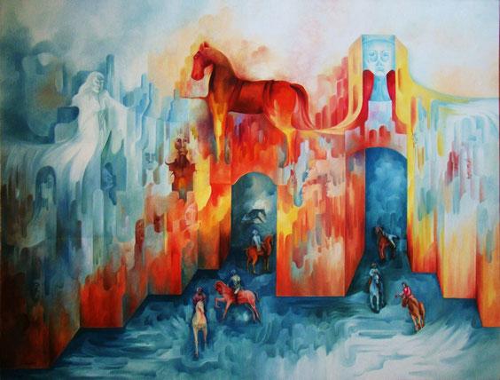 La Guerre de Troie.Huile sur toile. 116 x 89 cm.