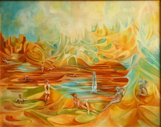 Naissance du Monde I.  92 x 73 cm. Huile sur toile.