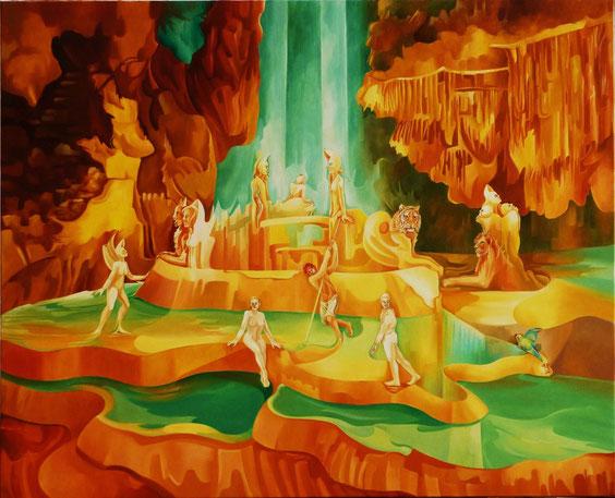 """""""Si les Grottes m'étaient contées..."""" Huile sur toile. 100 x 81 cm."""