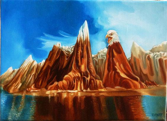 """""""Nature sauvage"""". Huile sur toile. 22 cm x 16 cm."""