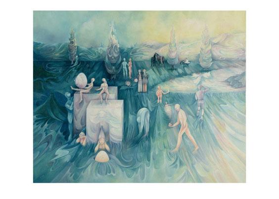 """""""NAISSANCE ET VIE"""" 73 x 60 cm. (Huile sur Toile)"""