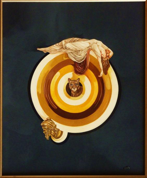 """""""Point de Mire énigmatique"""".  50 x 61 cm. Peintures vinyliques Flash sur toile. Hommage à Vasarely."""