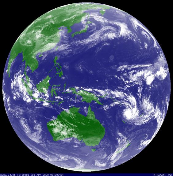Satellite image showing Severe Tropical Cyclone Harold over Vanuatu, 06/04/2020. Image from JMA.