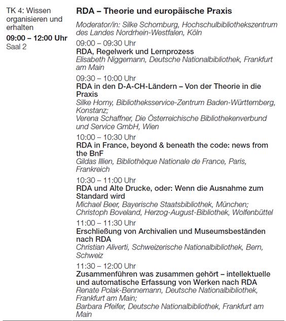 """Vorträge im Block """"RDA - Theorie und europäische Praxis"""""""