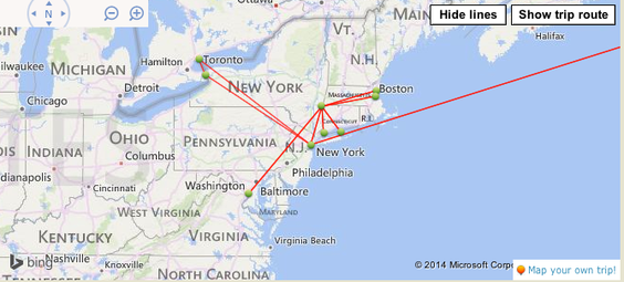 Places I went to on my first journey to the USA. Source: travelpod