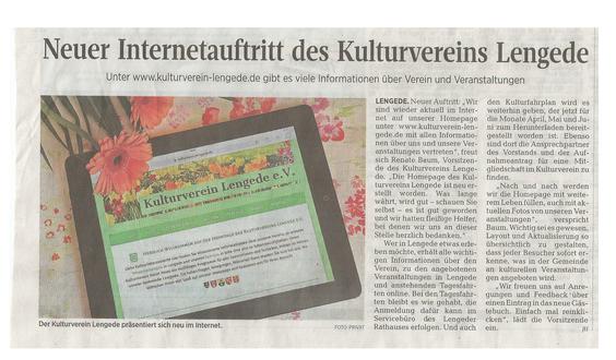 Peiner Allgemeine Zeitung, 17. April 2018, Neuer Internetauftritt