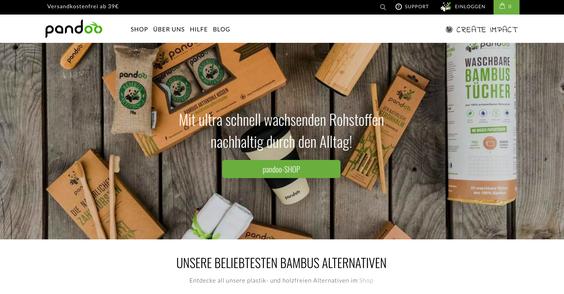 Screenshot pandoo: Nachhaltiger durch den Alltag mit Bambusprodukten.