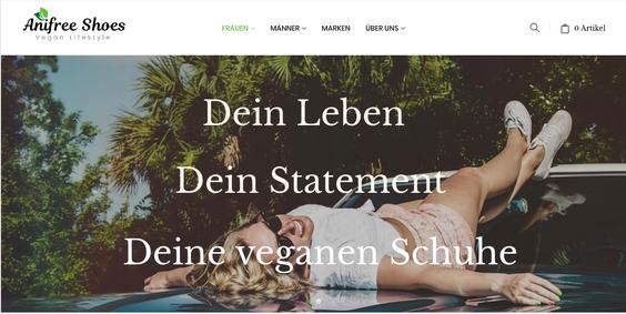 Anifree Shoes (Screenshot): Seit 2015 bietet der Onlineshop eine große Auswahl fair hergestellter und veganer Schuhe an - für jeden Anlass und jede Jahreszeit.