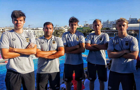 Von Links: Marius Neuens, Vuk Vuksanovic, Vitor Pavicic Capucho, Florian Gromann, Bela Basso