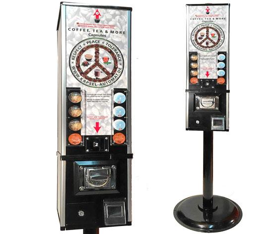 Münzautomat für Kaffeekapseln, auch mit Standfuss