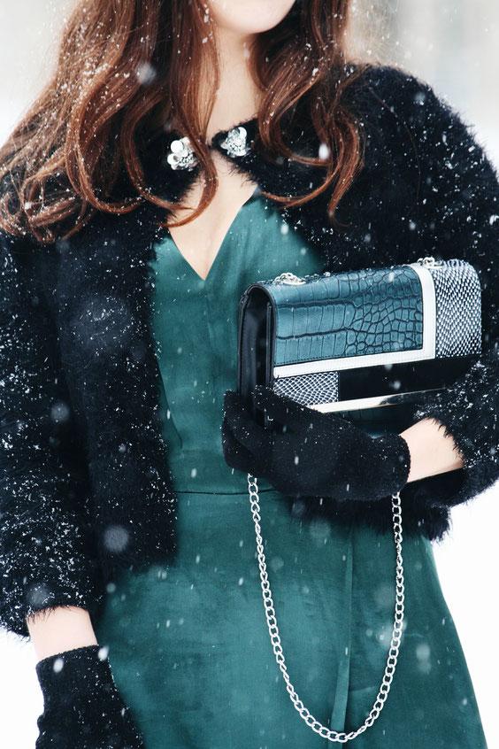 Flausch Bolero Orsay grünes Mango Kleid modeblog carmen schubert