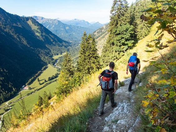 Abstiegsweg zurück nach Oberstdorf.