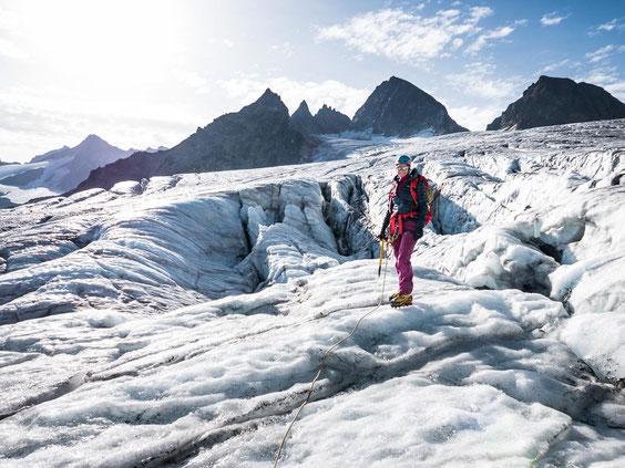 Die mächtige Spaltenzone auf dem Ochsentaler Gletscher