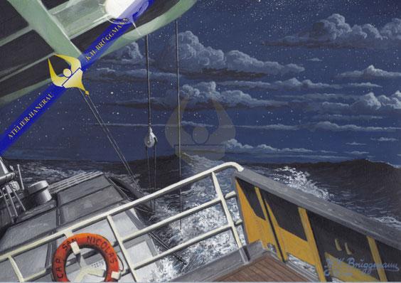 Das Erlebnis in dieser Nacht an Bord der Cap San Nicolas, habe ich in diesem Bild festgehalten. Es trifft gerade die erste Welle auf das Schiff und bricht über das Hinterschiff herein. Im Hintegrund ist die zweite Welle zu erkennen.